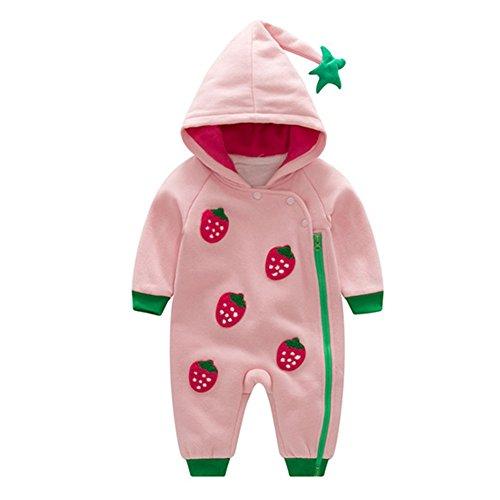 ampler - Erdbeer Gedruckt Hoodie Baumwolle Overall Christmas Halloween Herbst Winter Onesie Outfit Unisex Rosa 66 (Halloween Hoodies)