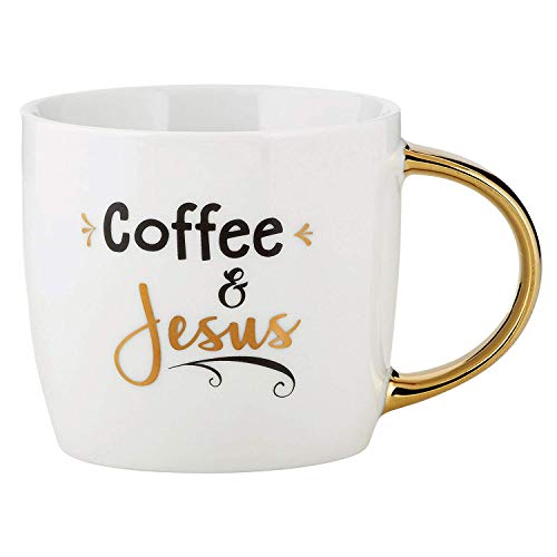 Kaffeetasse, Keramik, mit goldfarbenem Griff, ca. 400 ml