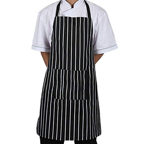 XCWQ Schürze Küchen-Unisex-Schürze Einstellbare Schwarz Gestreifte Latzschürze Mit 2 Taschen Chef Cook Tool -