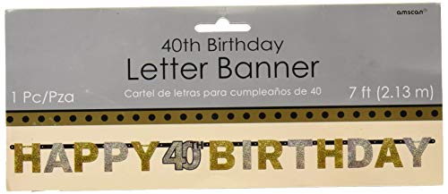 tischer Buchstaben-Banner, goldfarben, zum 40. Geburtstag, Happy Birthday, 2,4 m x 16 cm ()