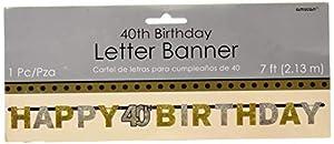Amscan-1202042,4m x 16cm oro celebración de 40º cumpleaños prismáticas carta Banner