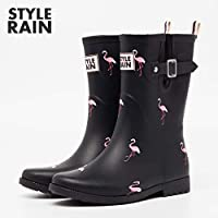 Wellington Boots ,Hao Rubber Ladies Waterproof Section In The Outer Wear Korean Cute Summer Matte Rain Boots Fashion Shoes In The Tube Solid Color Flamingo In The Tube Pvc Women Wellington Boots
