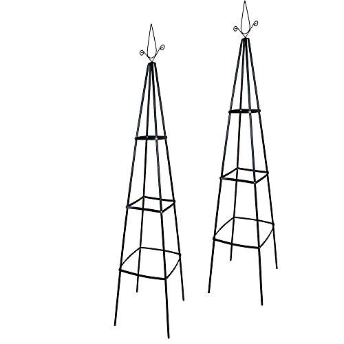 Preisvergleich Produktbild 2er Set Rosenpyramide Rankhilfe Rankgerüst Rankturm 40 x 40 x 200 cm