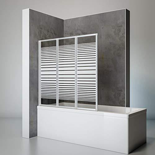 Schulte Duschwand Smart inkl. Klebe-Montage, 127 x 121 cm, 3-teilig faltbar, 3 mm Sicherheits-Glas Dekor Querstreifen, alu-natur, Duschabtrennung für Wanne