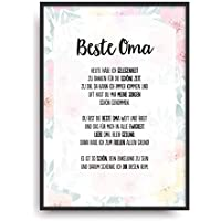 Geschenk Karte BESTE OMA Kunstdruck Ehrentitel Großmutter Auszeichnung Bild ohne Rahmen DIN A4