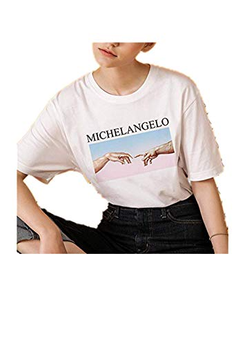 pitashe Oberteil Damen, Frauen Mode Knot Shirt Bluse Sport Crop Top Teenager Mädchen Casual Brille Drucken Locker Tops Sommer Kurzarm T Shirt Hemd Pullover
