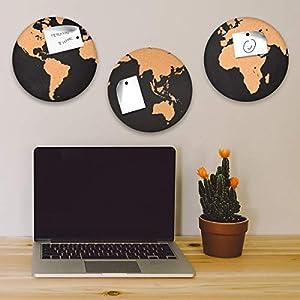 Navaris Set de tableros de corcho – Pizarras redondas con diversos diseños de mapas del mundo – 3x Pizarra mapamundi de corcho – Con chinchetas