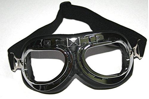 ATO 104 Chrom Fliegerbrille für Oldtimer Motorradbrille Retro Brille