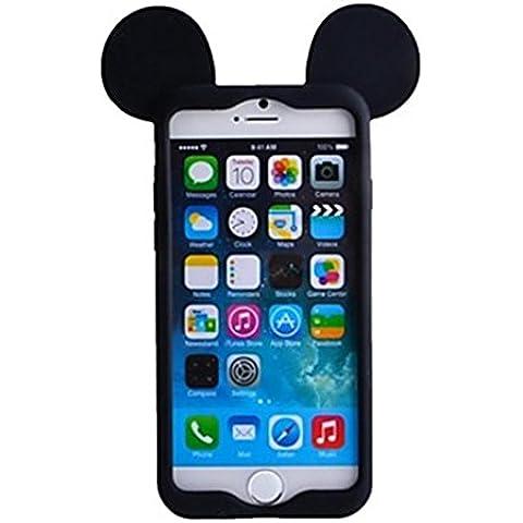 NightKid custodia Disegno creativo del bordo delle orecchie del mouse (iPhone 4/4S iPhone 6S Plus iPhone 6 Plus iPhone 6S iPhone 6 iPhone 5C iPhone 5/5S )(iPhone 6/4.7,Nero)