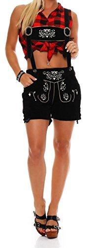 Gennadi Hoppe Damen Trachten Lederhose Oktoberfest Shorts (46, schwarz)
