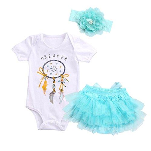 FNKDOR Neugeborene Baby Mädchen Dreamer Strampler + Tutu Rock + Haarband Outfits Kleidung 3 Stücke Set (03 Monate, ()