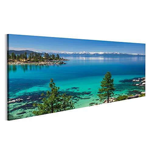 bilderfelix® Bild auf Leinwand Türkisfarbenes Wasser von Lake Tahoe Wandbild, Poster, Leinwandbild NSD - Tahoe Schlafzimmer