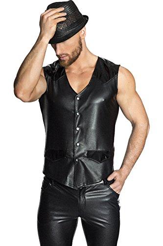 Preisvergleich Produktbild NOIR HANDMADE Men - Kunstleder Weste mit PVC Applikationen und Druckknöpfen, schwarz, Größe: S, 1 Stück