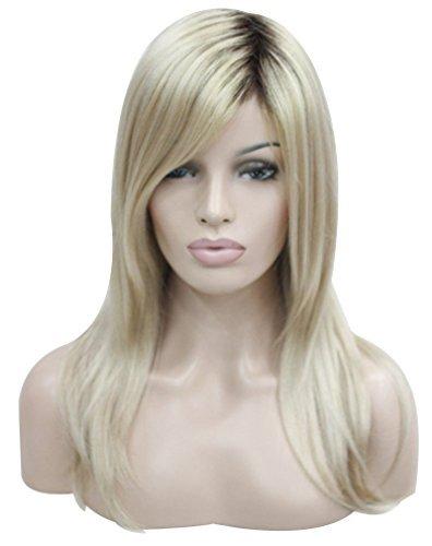 Kalyss Mittlere Lange Gerade Blond Ombre Schwarz Roots Glattes Haar Synthetische Weiche Volle ()