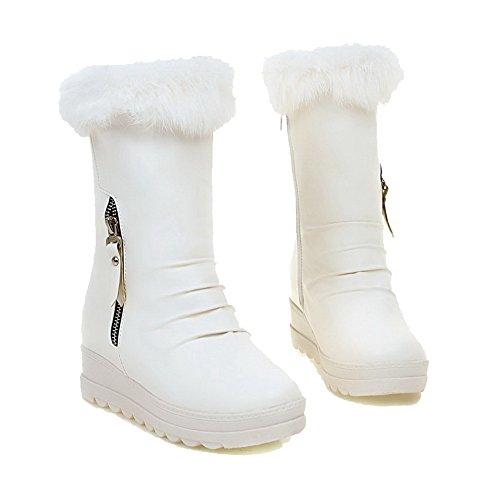 AllhqFashion Damen Niedrig-Spitze Reißverschluss Mittler Absatz Stiefel Weiß