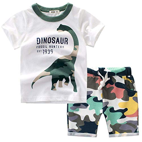 r Babykleidung Kinder Baby Jungen Cartoon Tier T-Shirt Tops +Shorts Hosen Outfits Set Kleidungsset Neugeborenen Baby Kleidung Set (90, Weiß) ()