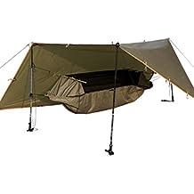 Free Soldier Hamac avec kit Bâche multifonction portable étanche Lit Suspendu avec abri tactique pour camping randonnée (Marron)