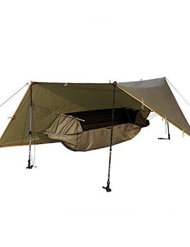 FREE SOLDIER táctico de camping hamaca con Tarp Kit Multipurpose Portable Impermeable Cama de colgar con cobertizo marrón