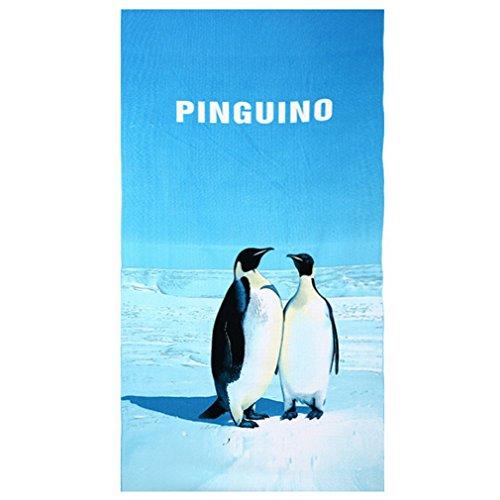 Souarts Strand Badetuch Urlaub schnell trocknen Atmungsaktiv Strandtuch Pinguin Abendsonne Dschungel Surfing Meere Sommer Stil Motiv 70cmx150cm (Pinguin 6) (Leichte Pinguin)
