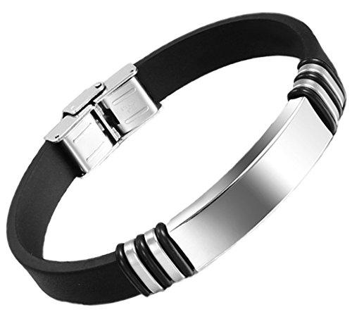 Herren Armband Edelstahl Schwarz Gummi Manschette Armreif Armband 11 * 223Mm Gravur Angebot von Aienid