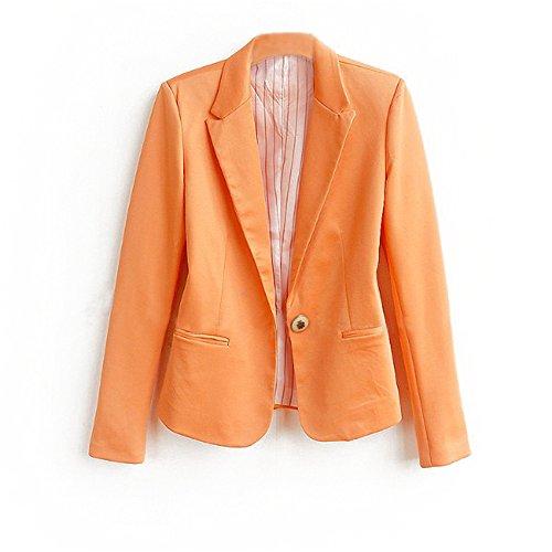 JOTHIN Damen Blazer Business Eleganter Vintage Sweatblazer Kurzjacke Jacke Plain Langen Ärmeln Knopf Blazer (S, Orange)