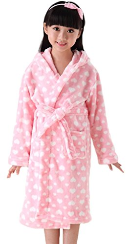 FLYCHEN-Girls-Soft-Fleece-Hooded-Bathrobes-Sleepwear-Nightgowns-for-Kids