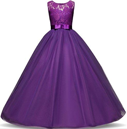 r Kleider Festlich Brautjungfern Kleid Prinzessin Hochzeit Party Maxi Kleid Spitze Spleiß Chiffon Festzug Gr. 116 128 140 152 164 170 (128, Lila) (Maxi-kleider Für Mädchen)