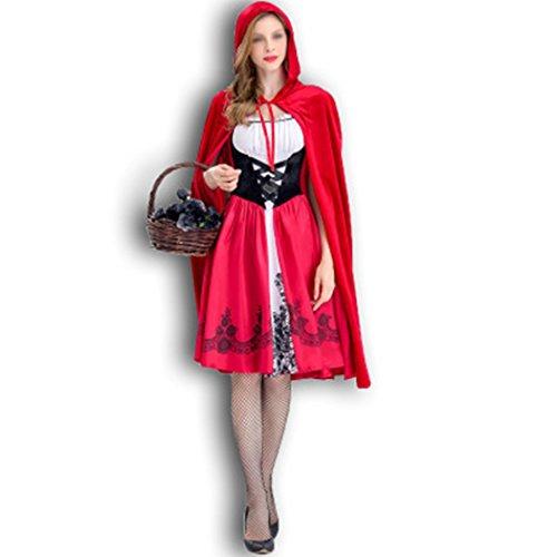 Raylans Rotkäppchen Kostüm mit Umhang Erwachsene Kleider für Halloween Fest Rollenspiel Kostüm Sexy Cosplay Kleid Karneval Damen Karneval Cosplay Kostüm