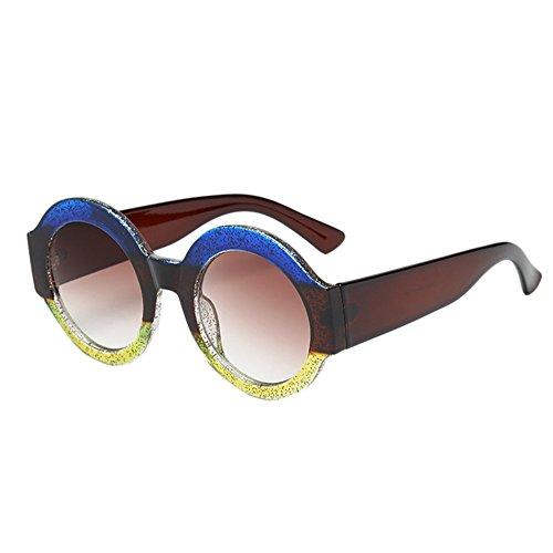 Yezijin_Sunglasses YEZIJIN Damen-Sonnenbrille, großer Rahmen, runde Form, Vintage, Retro, Unisex Free Size B