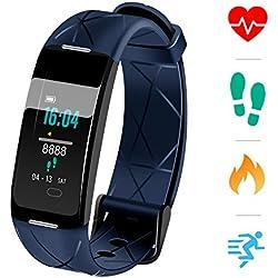 Sonkir Fitness Tracker HR, Montre d'activité avec Moniteur de fréquence Cardiaque, podomètre, 8 Modes Sportifs, Compteur de Calories, Moniteur de Veille, Bracelet Intelligent IP68 étanche pour (Bleu)