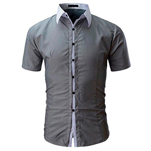 GreatestPAK T-Shirt Hemd Männer Herren Mode Einfarbig Männlich Freizeithemd,Grau,M