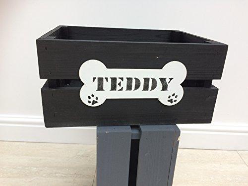 Wood Dog Pet Toy/Treats/Grooming Storage Box/Crate.BUSHEL BOX BLACK. 35cm L x 26cm W x 17cm 2