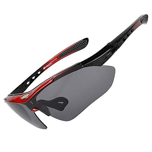 ZJY Abnehmbare Polarized Motion Radsportbrille Sonnenbrille Gebogener Wind Guide mit Schweißstreifen Myopie Rahmen 5 Linsen Anti-UV Wind Sand Dust Outdoor Obligatorisch