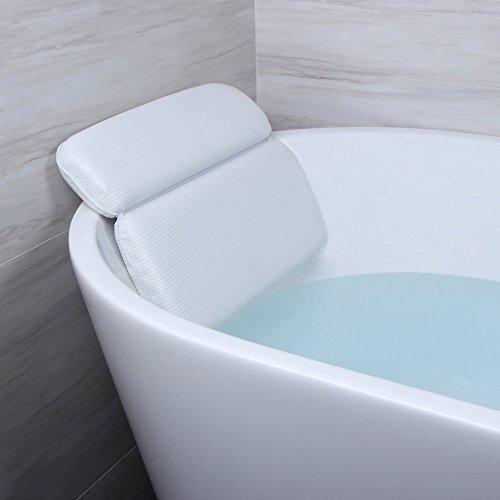 Angelbubbles Bad Kissen Badewannenkissen Starke Zurück Saugnäpfe Rutschfest Memory-Foam für Schulterhalsstütze (Weiß) Design Schaum-cup
