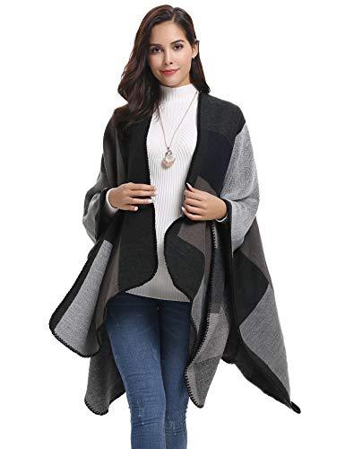 Abollria Damen Poncho Elegant Warm Strick Überwurf Cape mit Boho Muster Schal für Herbst Winter