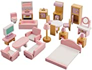 NextX Wooden Dollhouse Furniture Set, Miniature Wooden Toys for Toddler, Doll House Accessories Educational Le