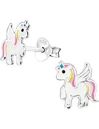 laimons niña niños de pendientes Niños joyas Unicornio Blanco, Rosa, Amarillo, Plata de ley 925