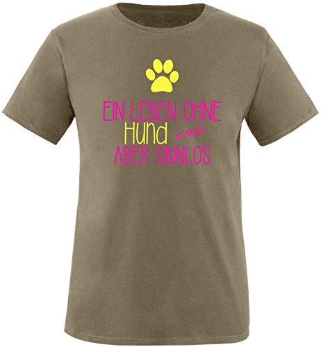 EZYshirt® Ein Leben ohne Hund ist möglich ! Aber sinnlos Herren Rundhals T-Shirt Olive/Pink/Gelb