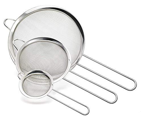 Cymax Lot de 3 Tamis Maille Fine/Passoire Mailles avecpoignée passoire Cuisine pour égoutter Nouille/Riz/Légumes/Blanc d'œuf etc, Trois Taille 7cm, 12cm et 18cm