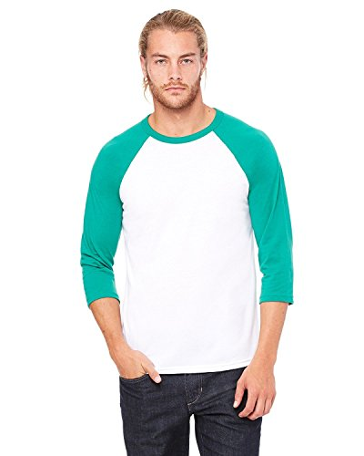 Bella+Canvas Triblend ¾ Sleeve Baseball t-Shirt White/Kelly XS