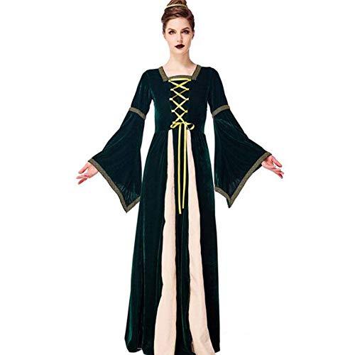 Adult Kostüm Mittelalterliche Dame - QWE Mittelalterliche religiöse Kleidung des Halloween-Kostüms dunkelgrünes aristokratisches Gerichtskleid erwachsenes Stadiumsleistungs-Kleidungsdamenkleid