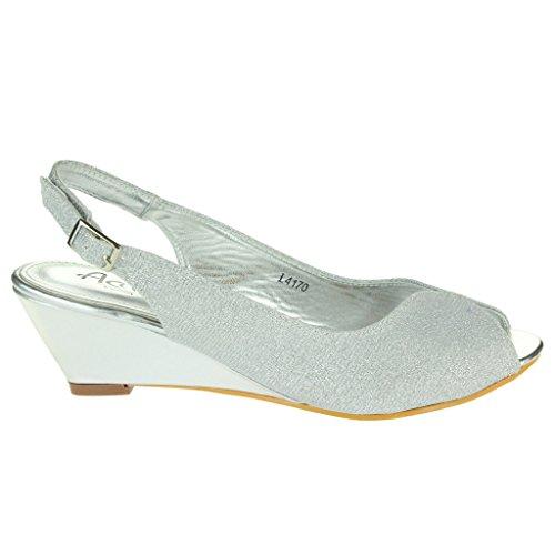 Frau Damen Schimmern Peep Toe Slingback Keilabsatz Abend Party Hochzeit Braut Prom Sandalen Schuhe Größe Silber