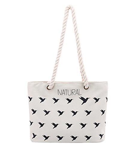 Tasche Canvas Mädchen Handtasche Vintage Muster Strandtasche Damen Shopper SOAR Einkaufstasche Vogel PB Blau Freizeittasche mit Weiß Schultertasche 0xwSqPHE