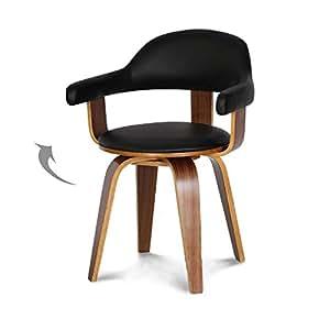 Chaise suédoise pivotante simili-cuir noir et bois massif Walnut