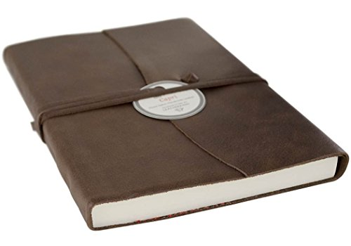 LEATHERKIND Capri Leder Notizbuch Schokobraun, A5 Blanko Seiten - Handgefertigt in Italien