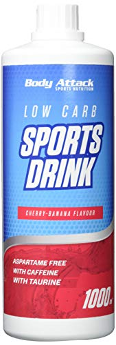 Body Attack Low Carb Sports Drink, Cherry-Banana/Kirsch-Banane, 1er Pack, (1x 1000ml) -