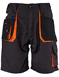 Emerton - Pantalones Cortos De Trabajo, Negro/Naranja