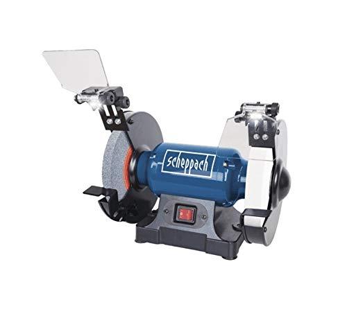Scheppach 5903110901 Doppelschleifer SM200AL, vielseitiges Schleifgerät mit Schlicht und Schruppscheibe, LED-Arbeitsleuchten, Verstellbarer Funkenschutz, 0,5 PS Motor, 500 W, 230 V -