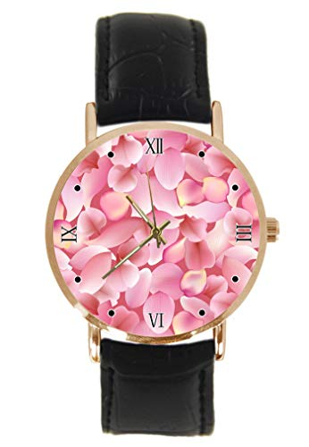 Rose Sakura and Lotus Petals Wrist Watch Fashion Classic Unisex Analogue Quartz Stainless Steel Case Leather Strap Watches
