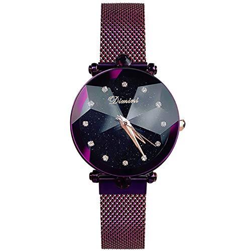 RORIOS Mode Damen Analog Quarzuhr Armbanduhren Mesh Armband Sternenklarer Himmel Simulierter Diamant Dial wasserdichte Armbanduhr
